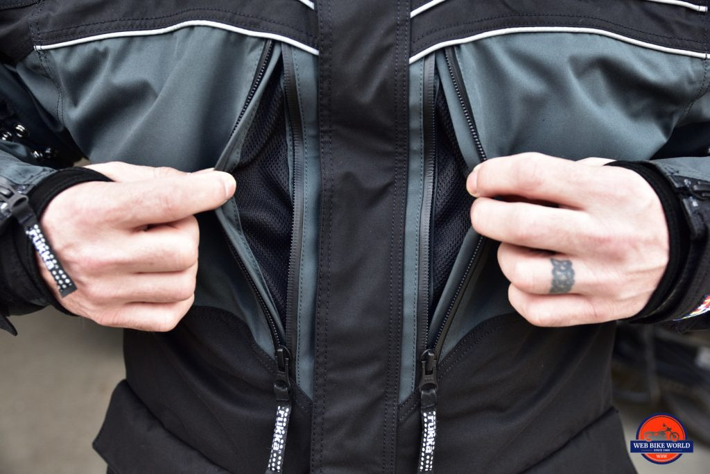 Rukka ROR Jacket Closeup of Front with Unzipped Stealth Pockets On Both Sides of Main Zipper