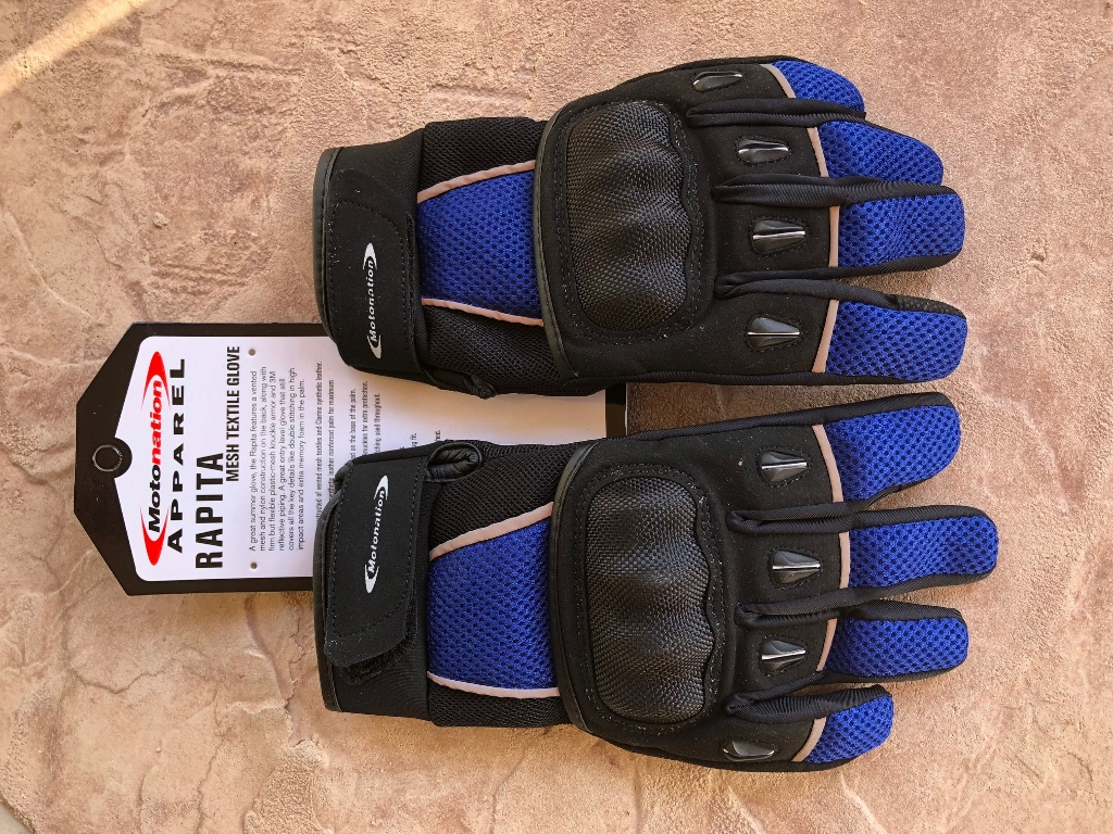 Motonation Rapita Textile Mesh Gloves Full View Knuckles Up