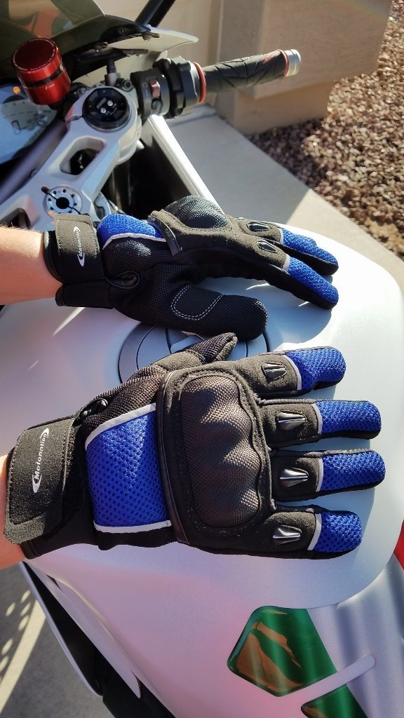 Motonation Rapita Textile Mesh Gloves Worn Both Hands Ready For Test with Motorcycle