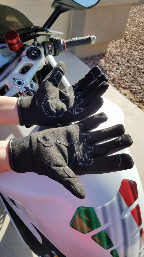 Motonation Rapita Textile Mesh Gloves Fingers Open Palms Up View of Both Gloves