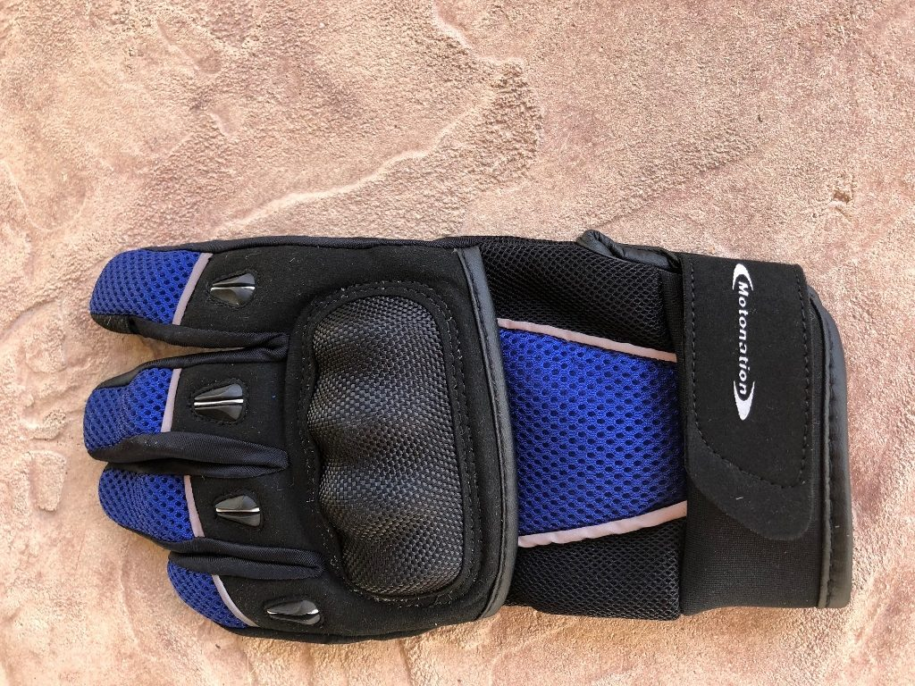 Motonation Rapita Textile Mesh Gloves Left Glove Full View Knuckle Up