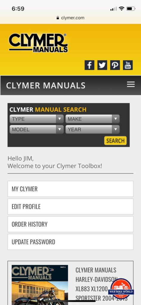 Clymer Online Manual on Mobile