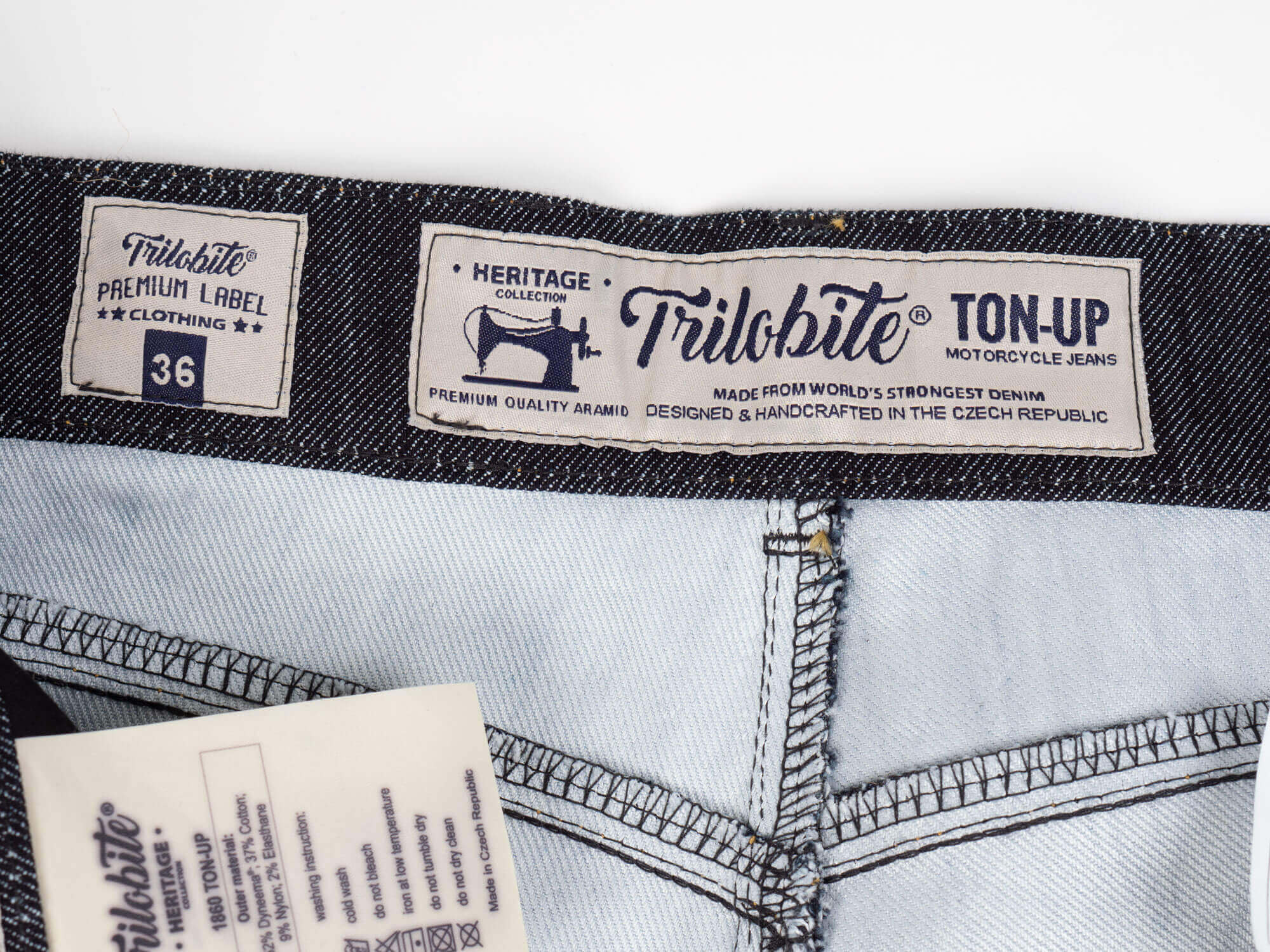 Trilobite 1860 Ton-Up Jeans Inner Waistband Closeup
