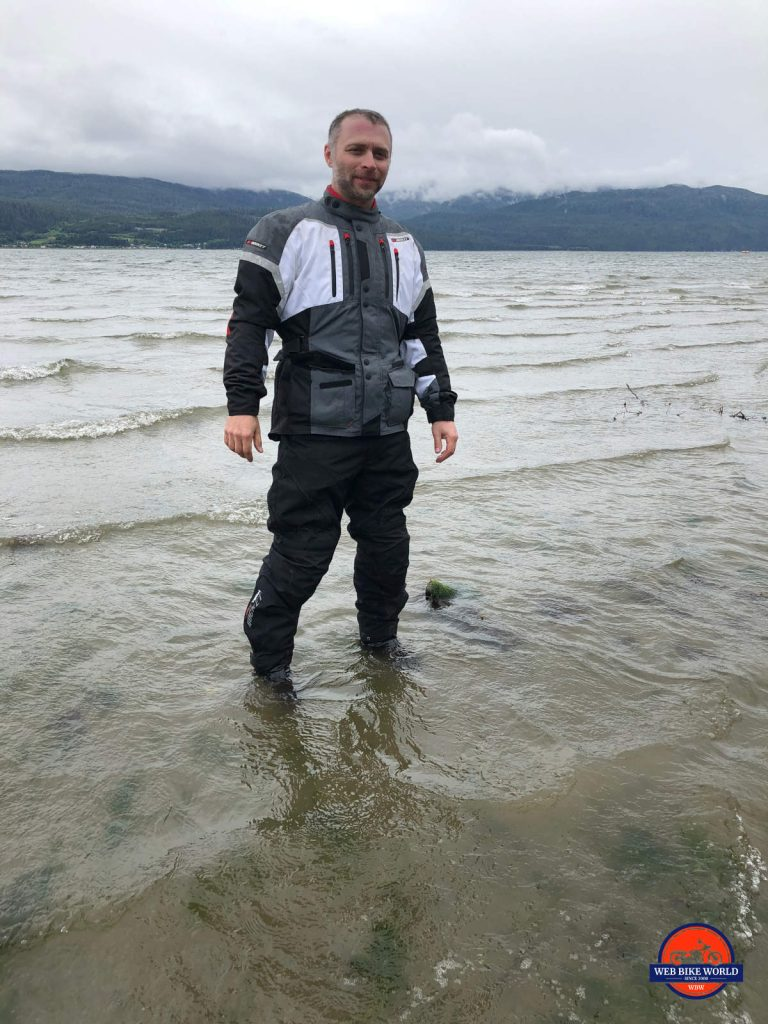 Me standing in the Pacific Ocean at Kitimat, BC.
