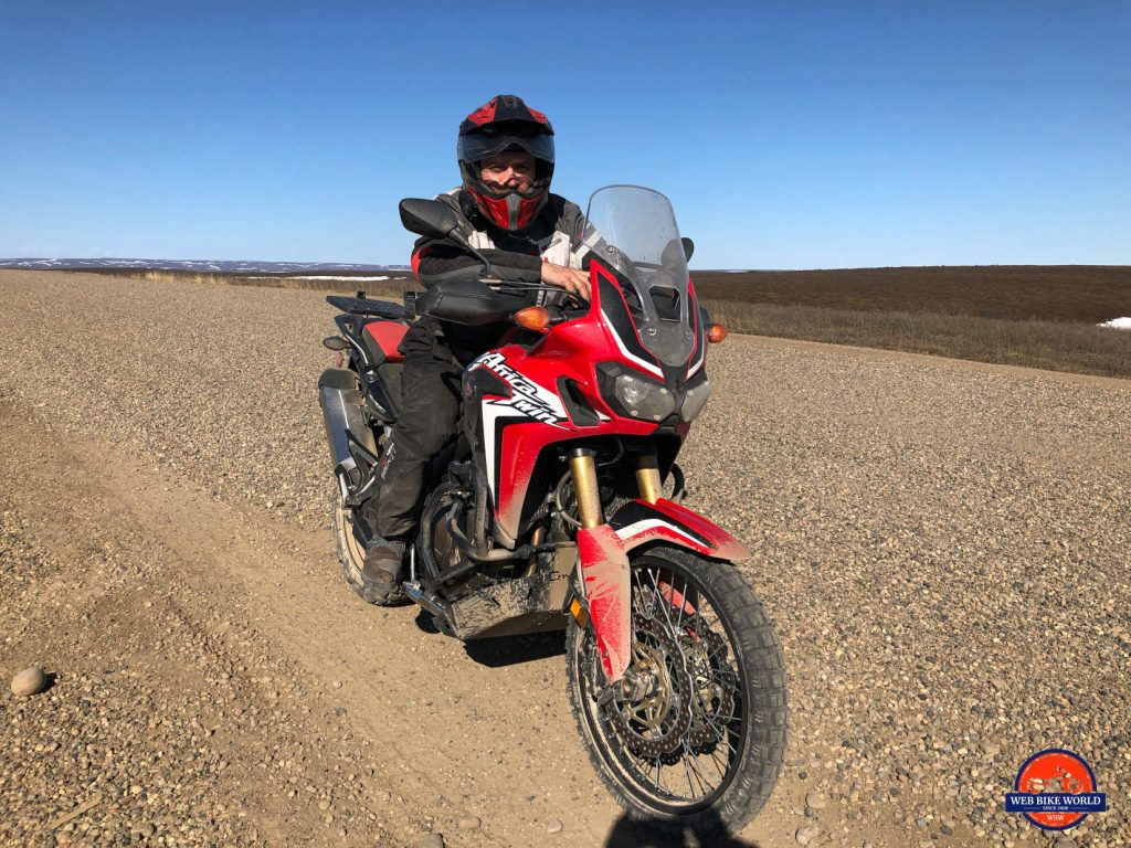 Me and my 2017 Honda Africa Twin on the Dempster highway.