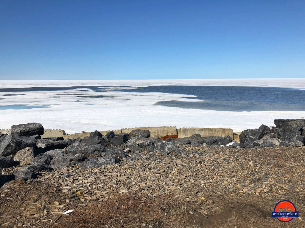 Rocks and ice on the shore at Tuktoyaktuk on the Beaufort Sea.