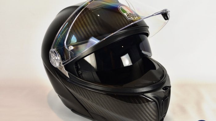 AGV Sportmodular Carbon Gloss helmet right side view.