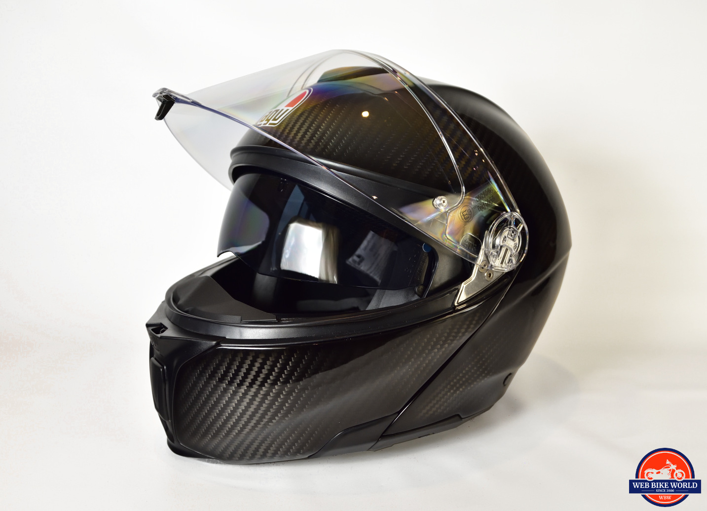 AGV Sportmodular Carbon Gloss helmet left side view.