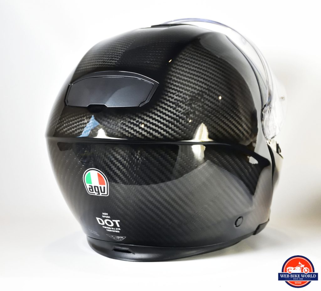 AGV Sportmodular Carbon Gloss helmet rear view.