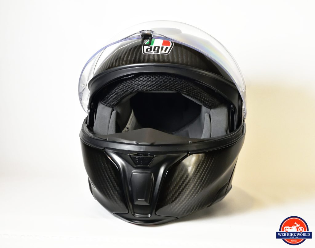 AGV Sportmodular Carbon Gloss helmet front view.