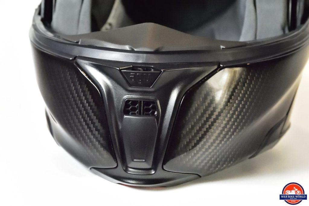 AGV Sportmodular Carbon Gloss helmet chinbar vent open.