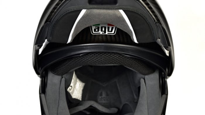 AGV Sportmodular Carbon Gloss helmet chinbar raised and locked open.