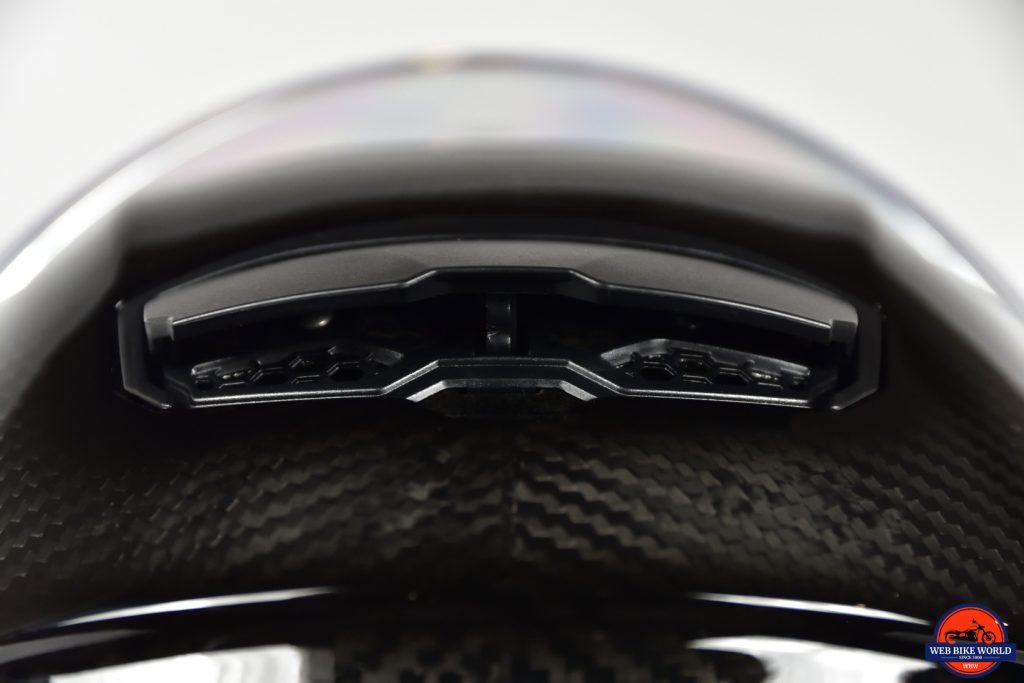 AGV Sportmodular Carbon Gloss helmet rear spoiler/vent open fully.