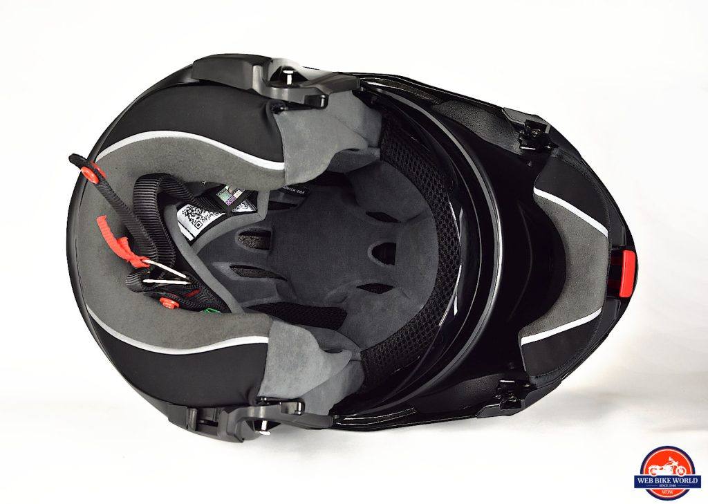 AGV Sportmodular Carbon Gloss helmet visor open bottom view.