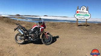 My 2017 Honda Africa Twin Next to the Tuktoyaktuk Entrance Sign