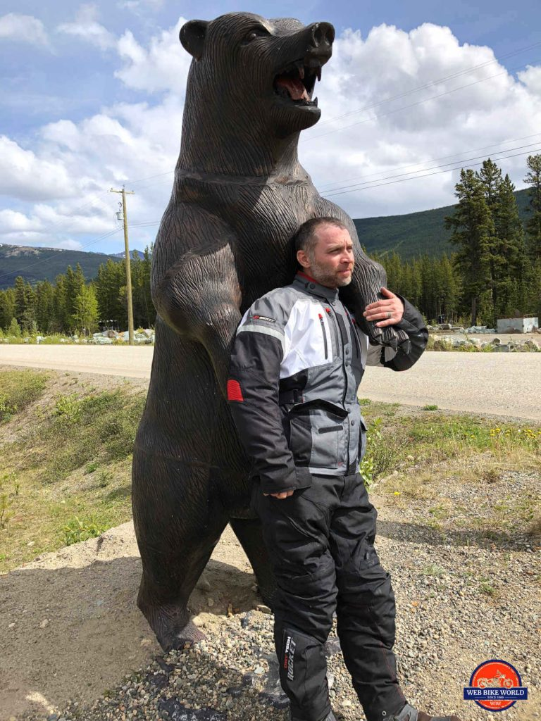 Joe Rocket Canada Ballistic 14 Jacket on Model with Bear statue