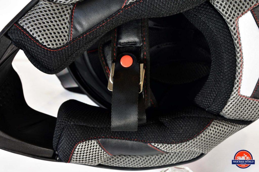 Joe Rocket Canada RKT-25 TransCanada Helmet Underside Closeup of Chin Strap