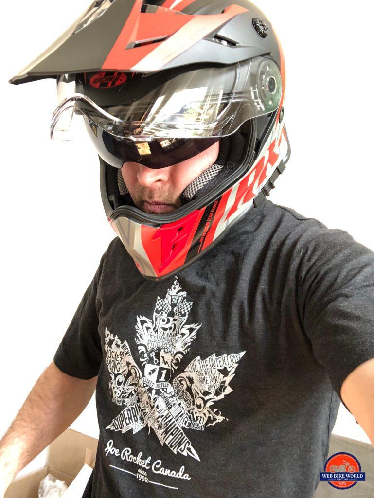 Joe Rocket Canada RKT-25 TransCanada Helmet Worn on Model with Visor Up