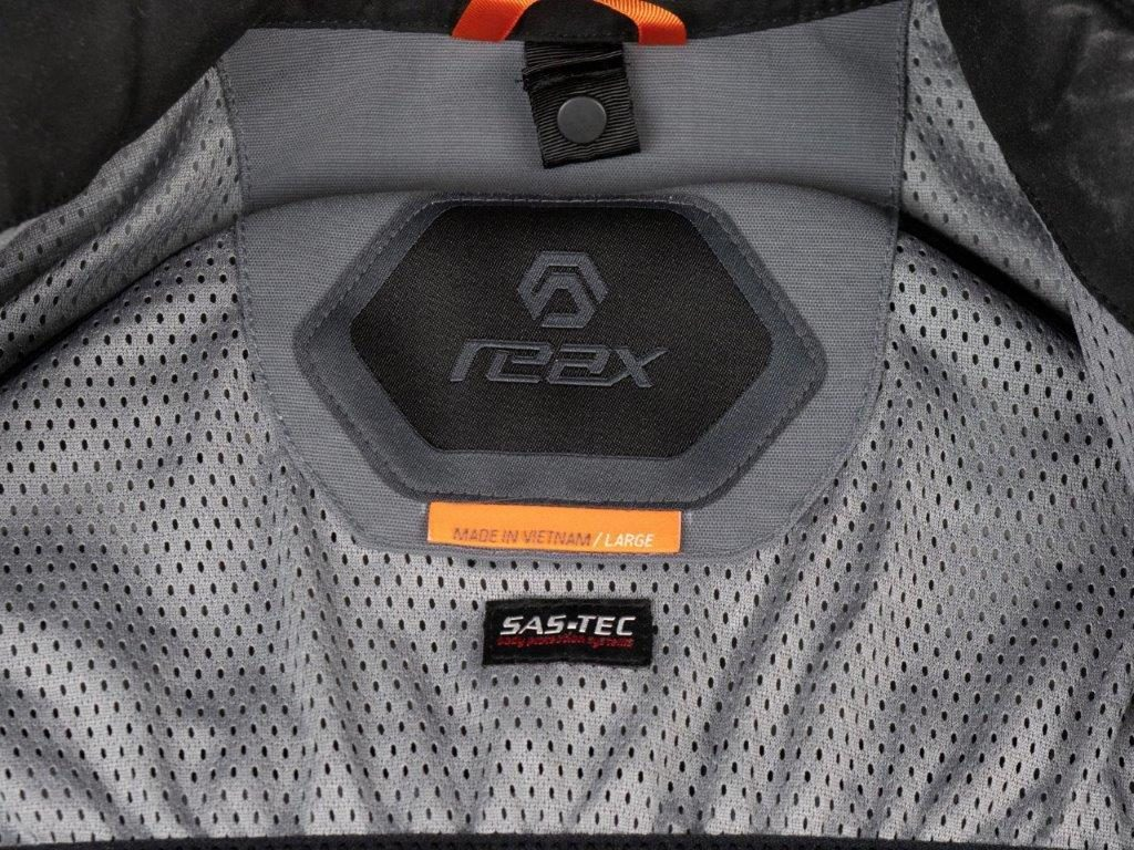 REAX Ridge Textile Jacket Closeup Interior Neck Logo