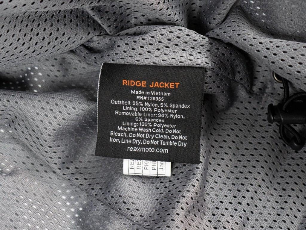 REAX Ridge Textile Jacket Interior Tag Information