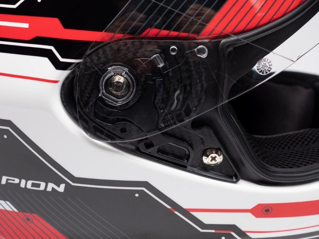 Scorpion EXO R420 Helmet Closeup of Visor Mechanism