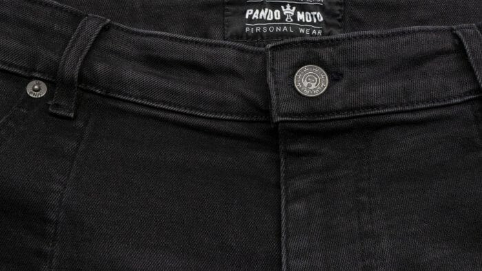 Pando Moto Karl Devil Motorcycle Riding Jeans Closeup of Button Closure and Waist