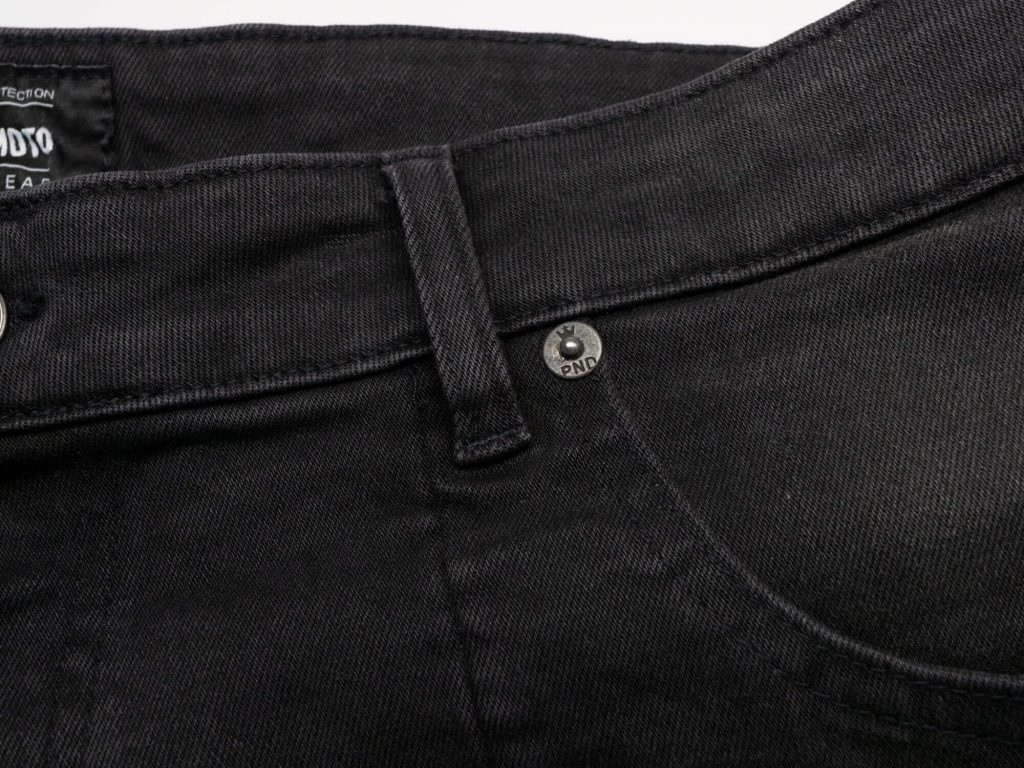 Pando Moto Karl Devil Motorcycle Riding Jeans Closeup of Pocket and Belt Loop