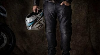 Pando Moto Karl Devil Motorcycle Riding Jeans Full View on Model