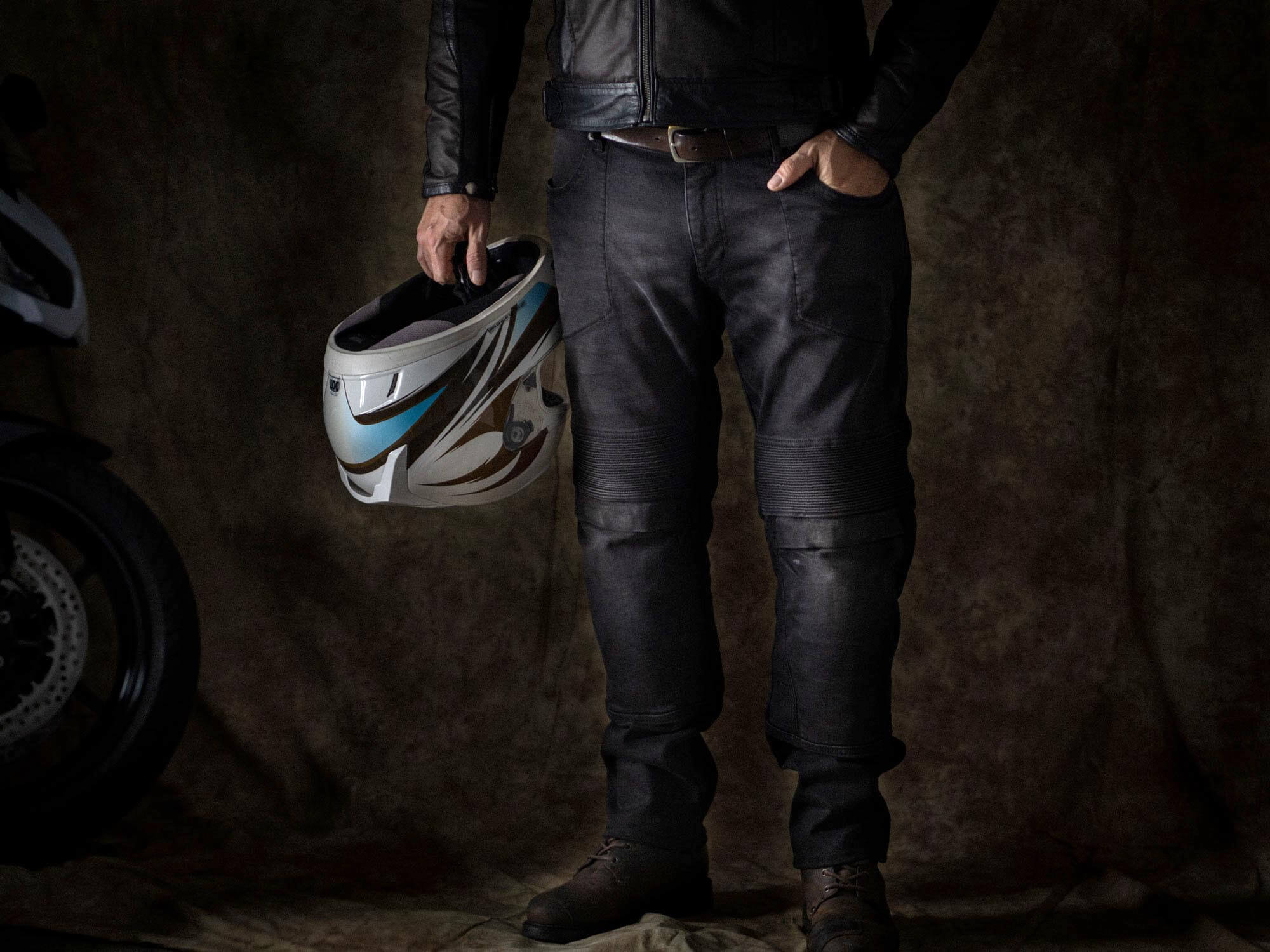 Pando Moto Karl Devil Motorcycle Riding Jeans Full View on Model