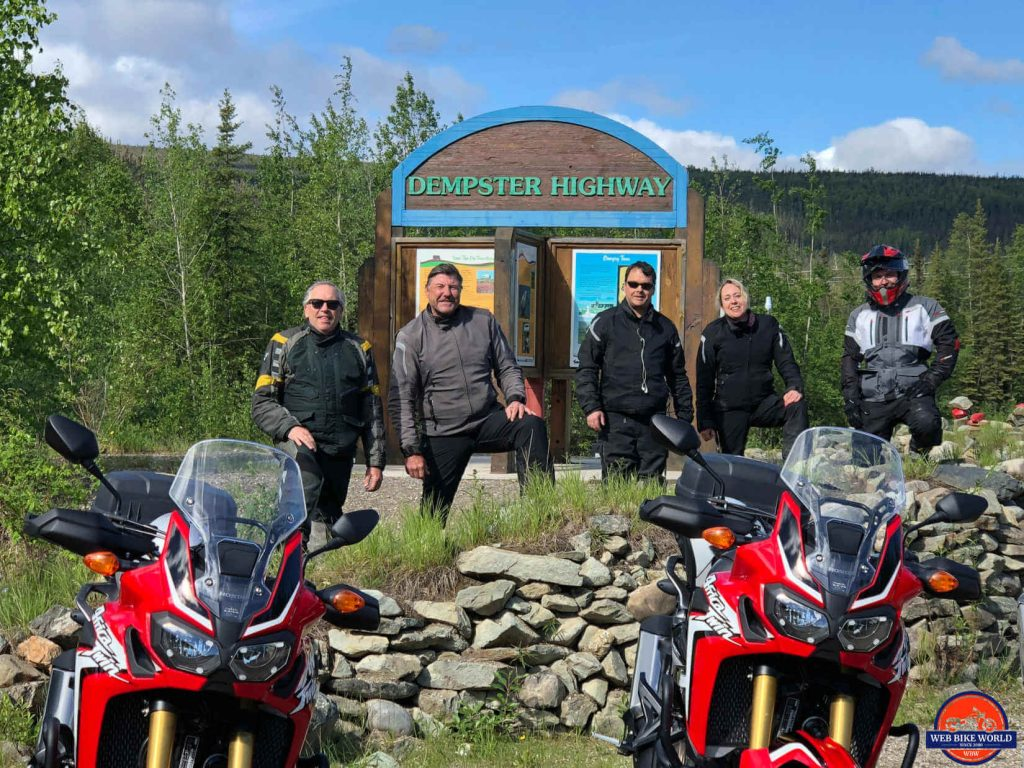Wade, Pat, Matt, Carolyn and myself at the sign marking the beginning of the Dempster Highway.