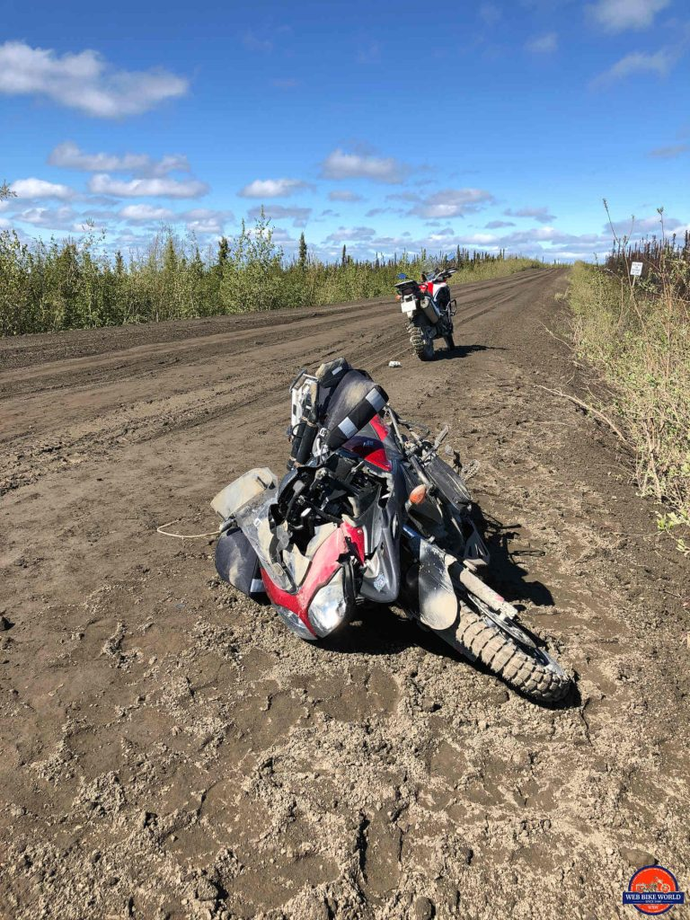A Suzuki V Strom destroyed by the Dempster Highway