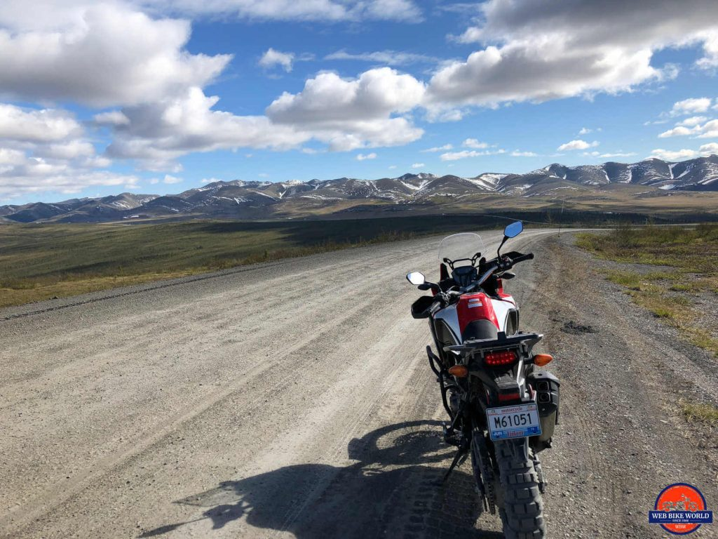 An Africa Twin riding the Dempster Highway.