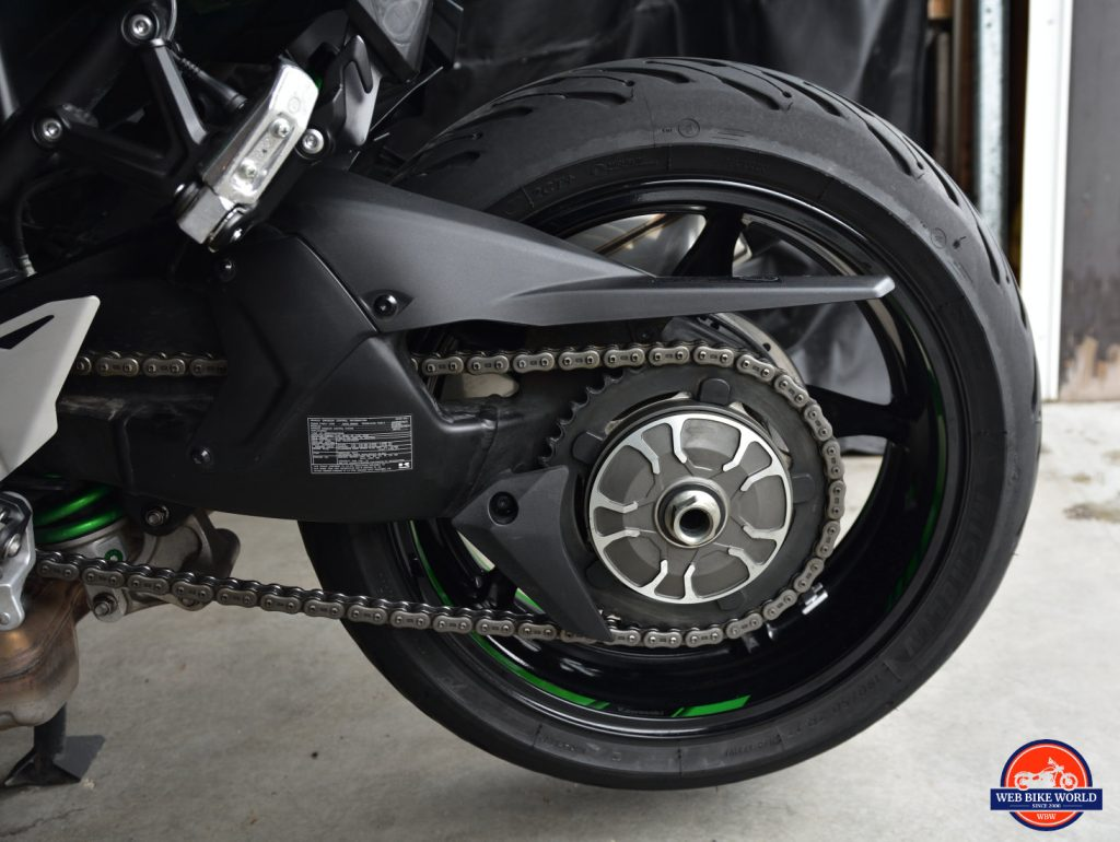 2018 Kawasaki Ninja H2SXSE rear wheel and swingarm.