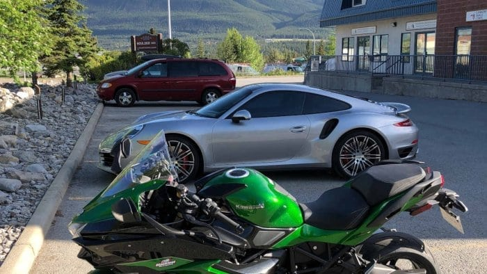 2018 Kawasaki Ninja H2SXSE in Canmore, Alberta with Three Sisters Mountains.