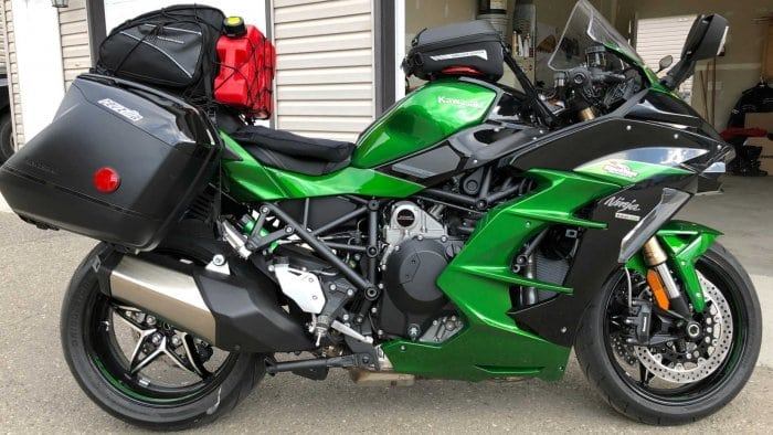 2018 Kawasaki Ninja H2SXSE with luggage installed.