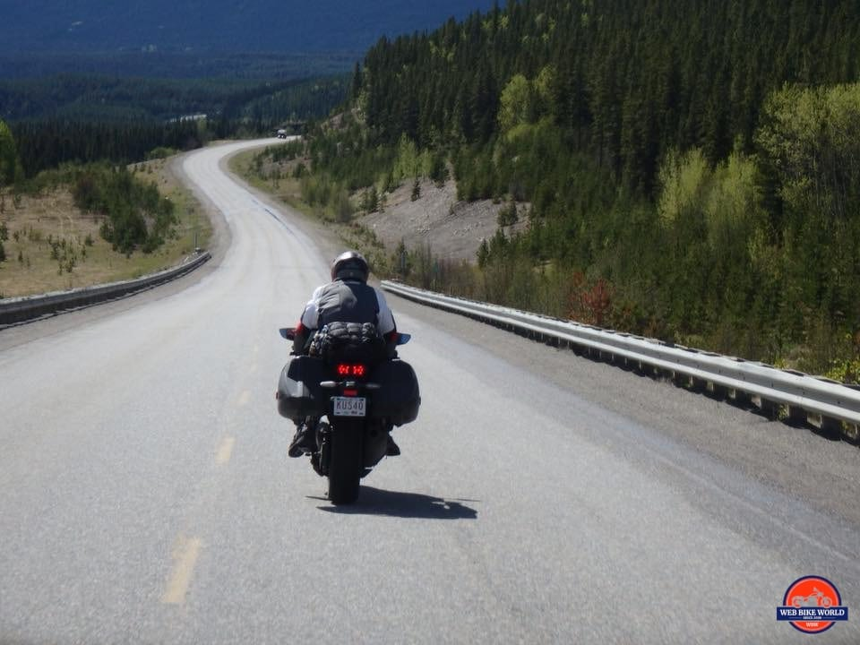 2018 Kawasaki Ninja H2SXSE on the Alaska Highway going fast.