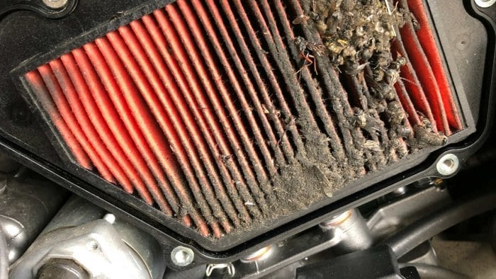 2018 Kawasaki H2SXSE air filter plugged with bug guts.