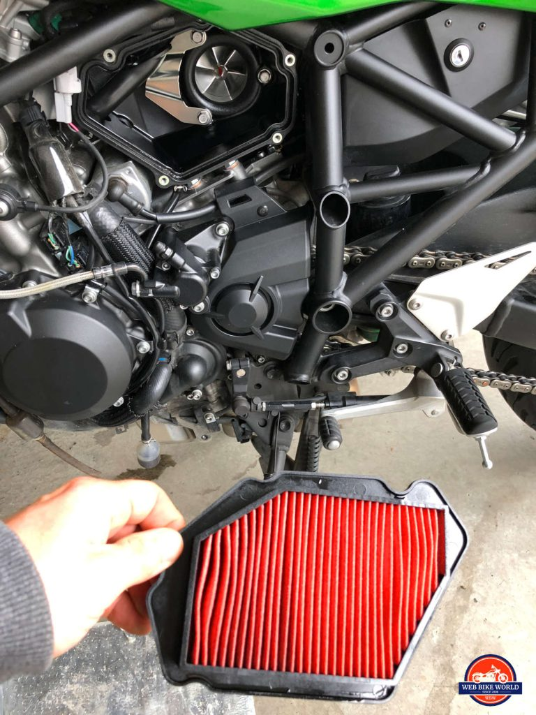 2018 Kawasaki Ninja H2SXSE air filter removed.