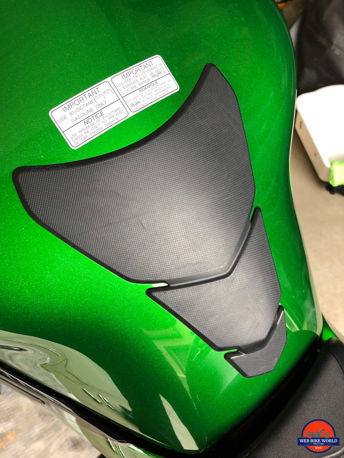 2018 Kawasaki Ninja H2SXSE gas tank protector with scratches on it.