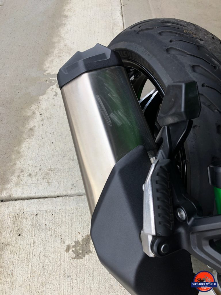 Scratches on the muffler of a 2018 Kawasaki Ninja H2SXSE.