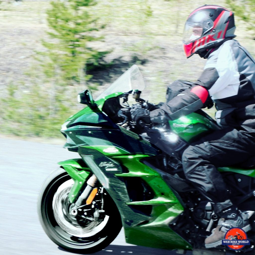 2018 Kawasaki Ninja H2SXSE riding fast on the Alaska highway.
