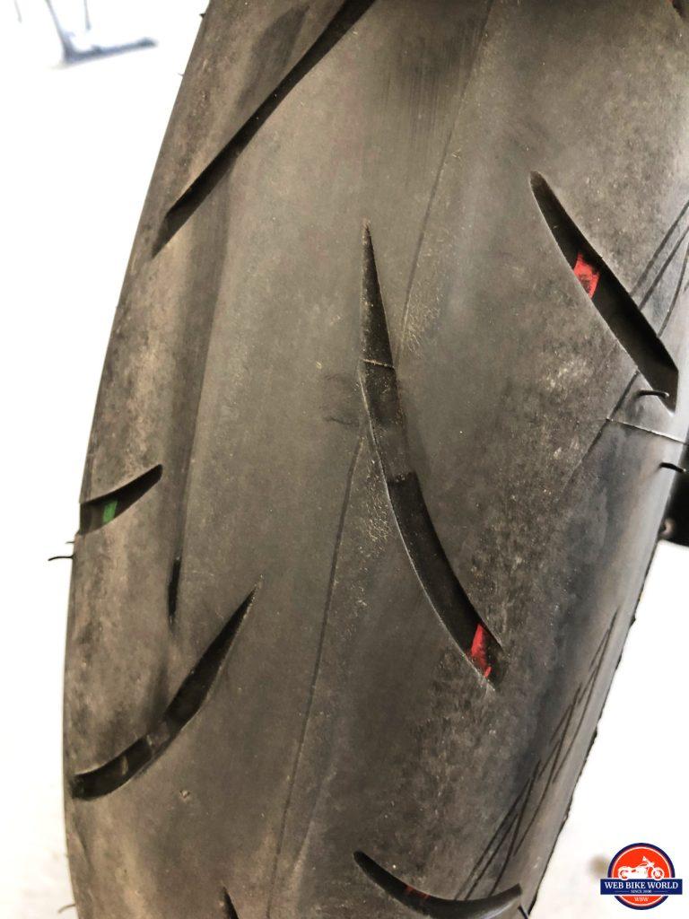 2018 Kawasaki Ninja H2SXSE front Bridgestone Battlax tire.