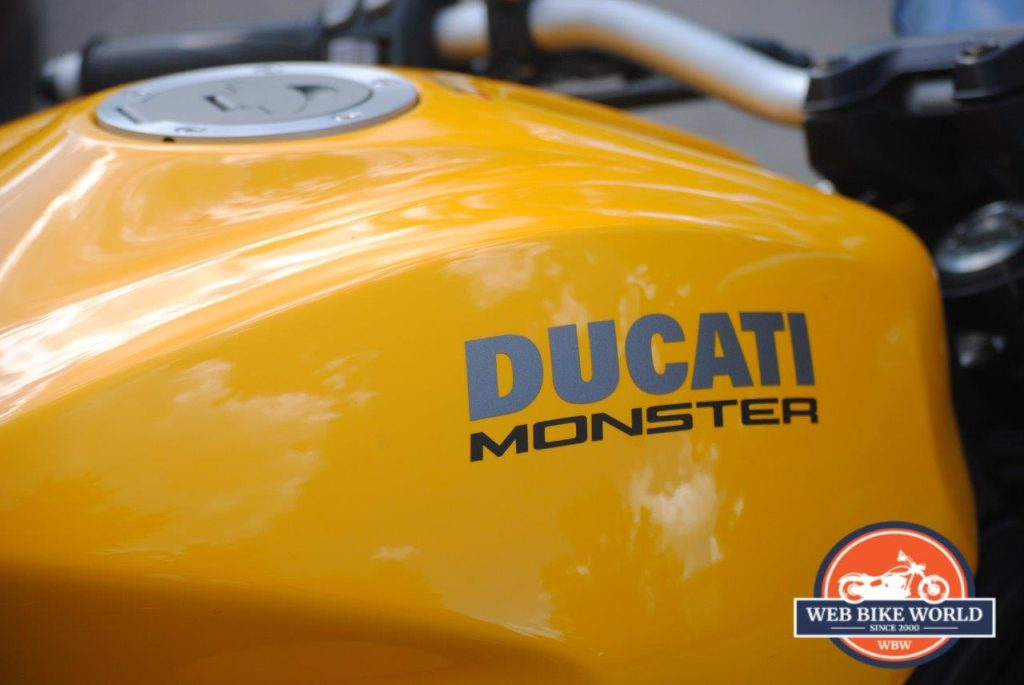 2018 Ducati Monster 821 Closeup of Fuel Tank and Logo