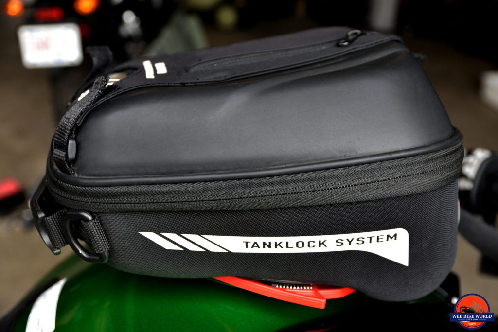 Givi ST602 tank bag installed on a 2018 Kawasaki Ninja H2SXSE.