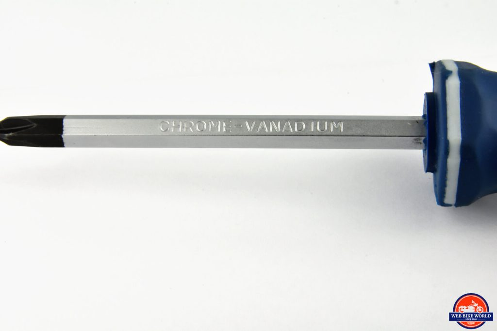 The chrome vanadium shaft on the screwdriver is polished, but not to a mirror finish.
