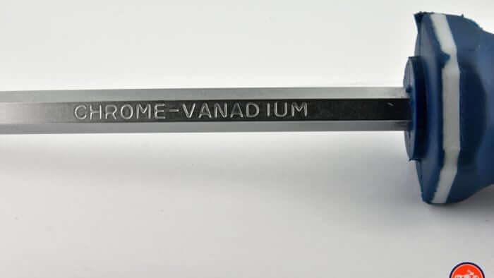A close up of the chrome vanadium shaft on the GoFast screwdriver.