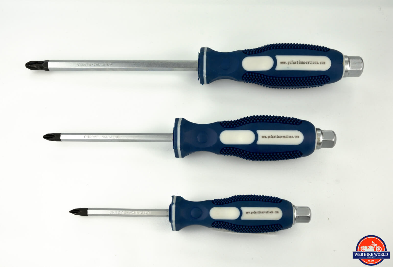 Photo of three sizes of GoFast Innovations JIS screwdrivers.