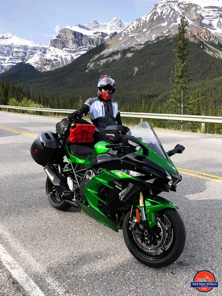 2018 Kawasaki Ninja H2SXSE on the Icefield Parkway.