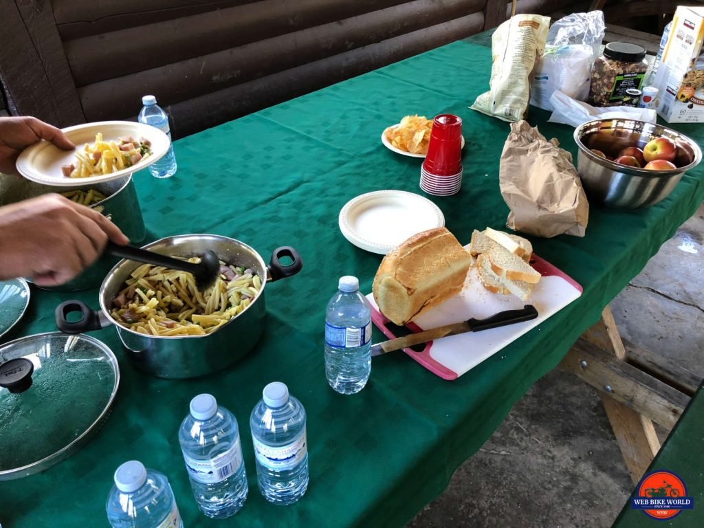 The fanciest feast ever eaten on the Dempster Highway.