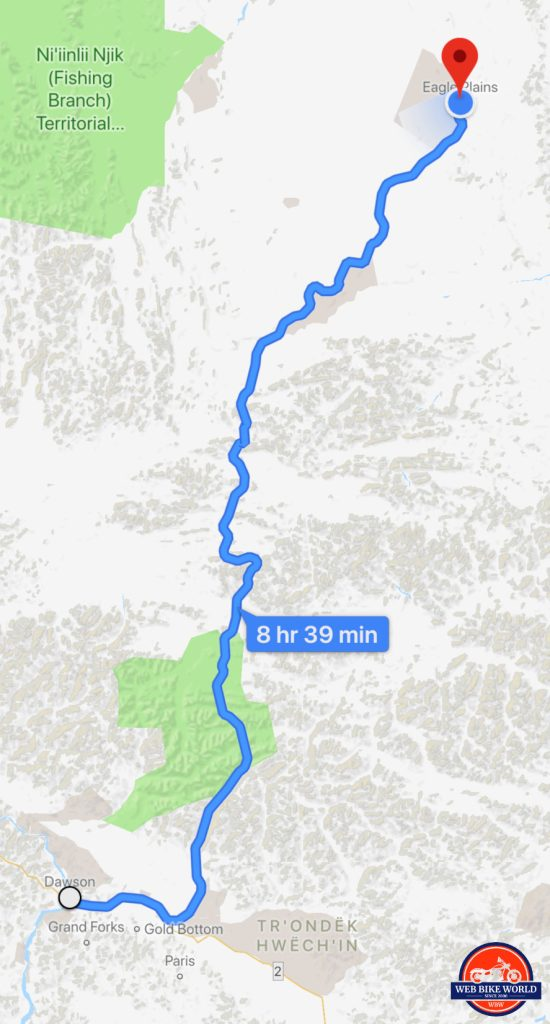 Map showing the Dempster Highway from Dawson City to Eagle Plains.